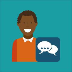 man afroamerican using laptop bubble speech media icon vector illustration eps 10