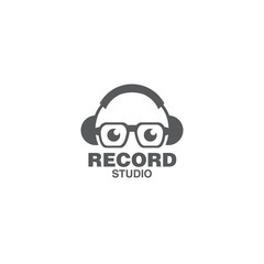 record music concept logo icon vector template