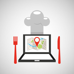 laptop delivery food app vector illustration eps 10