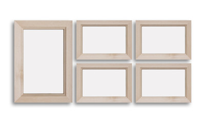 Collage of five wooden photo frames, countryside style decoration