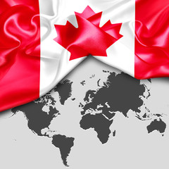Abstract waving Canada flag over world map. 3d illustration
