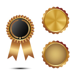 Set of golden seal of quality template with ribbon