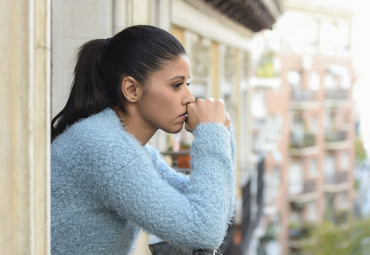 beautiful sad and desperate hispanic woman suffering depression thoughtful frustrated