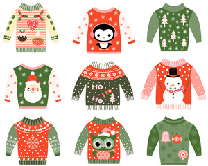 Cute ugly Christmas sweaters vector clip art set