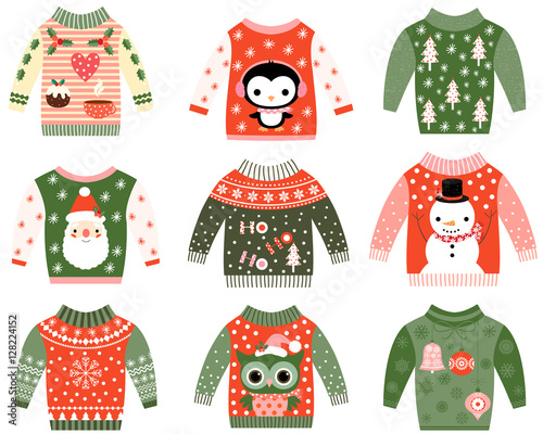 Ugly Christmas Sweater Cartoon.Cute Ugly Christmas Sweaters Vector Clip Art Set Stock
