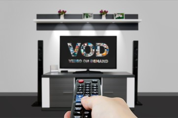 Video on demand VOD service in TV. Watching television home cine