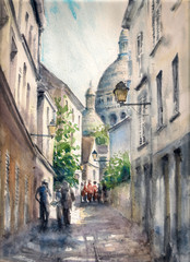 Old city street Picture created with watercolors.