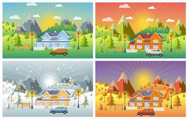 landscape design set with Winter, Spring, Summer, Autumn. houses