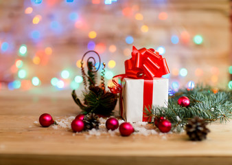 Christmas shopping and Christmas decorations on festive background