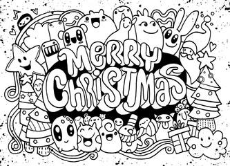 Hand drawing cartoon character.Merry Christmas .Vector Christmas
