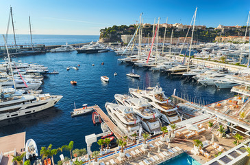 Monaco, Monte-Carlo, 29 September 2016: World Fair MYS Monaco Yacht Show, Port Hercules, luxury megayachts, many shuttles, taxi boat, presentations, Journalists, boat traffic, Azur water