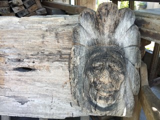 Old antique Wooden American Indian craved