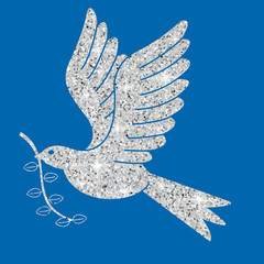 Glitter simple Christmas dove in vector format.