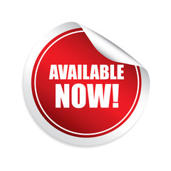 Available now red sticker, button, label and sign.