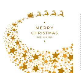 santa's sleigh and startrack - merry christmas and happy newyear - Weihnachtsmann mit Schlitten Rentieren und Sternenschweif