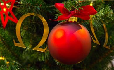 red Christmas ball composition, Christmas