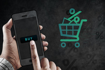 Online Shopping Concept, Hand using Mobile to Buy Product Online, Sale and Promotional Background