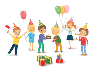 Cute boy celebrating birthday with her friends. Vector isolated