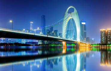Canvas Prints Bridge Night view of Guangzhou city, China