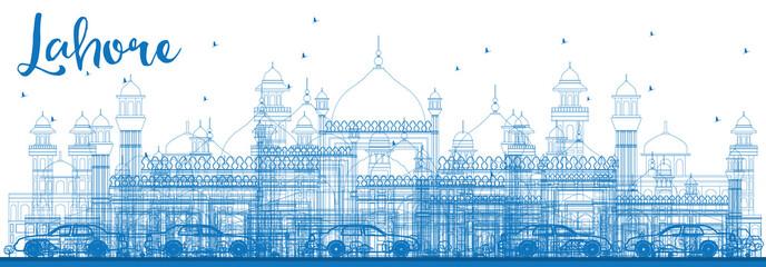 Outline Lahore Skyline with Blue Landmarks.