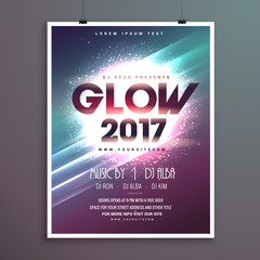 2017 new year party flyer brochure template with glowing backgro