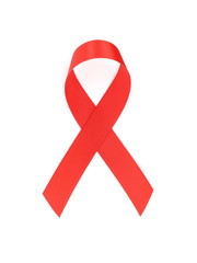 red aids ribbon isolated on white background