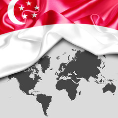 Abstract waving Singapore flag over world map. 3d illustration