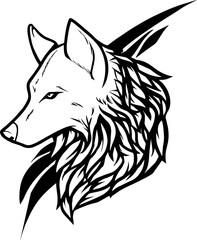 tribal - head of wild wolf tattoo stencil design