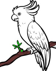 line art - parrot on twig the tree