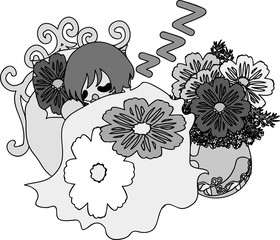 A sleeping cute little girl on the bed of cosmos