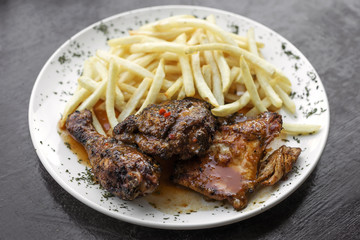 portuguese famous piri piri spicy bbq chicken with french fries
