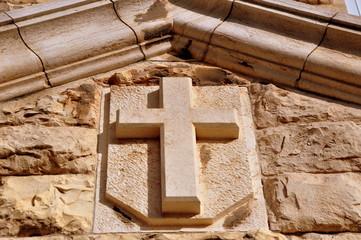Kreuz an der Martin Luther Schule in der Jerusalemer Altstadt