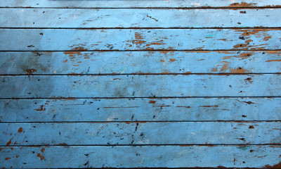 Old background wood with blue paint on