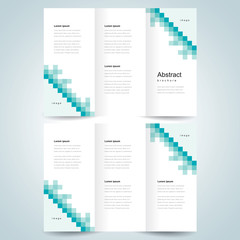 brochure design template vector trifold pixels mosaic abstract