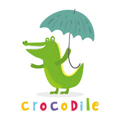 cheerful crocodile with an umbrella. Printable templates