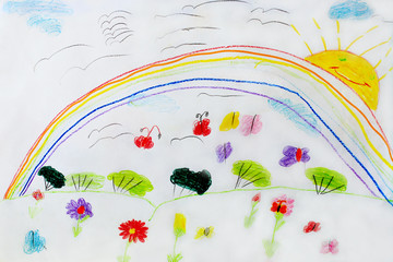 Childish drawing of funny flowers and rainbow