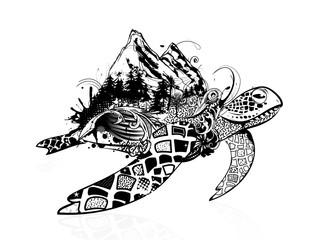 eine surreale Meeresschildkröte mit Wald und Berge auf dem Schildkrötenpanzer. Verziert mit floralen Elementen