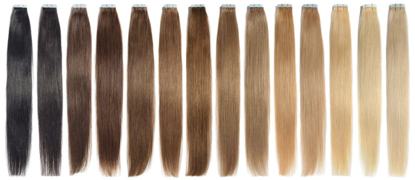 various colors of straight tape in human hair extensions