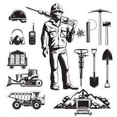 Mining Industry Vintage Icons Set