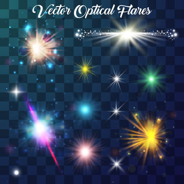 Glowing light star and sparkle. Isolated on transparent background. Set of realistic light glare, highlight. Collection of beautiful bright lens flares. Lighting effects of flash. Vector illustration