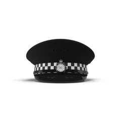 British Police Cap on white. 3D illustration