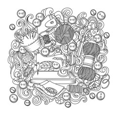 Sketch vector hand drawn of object Hand Made cartoon doodle