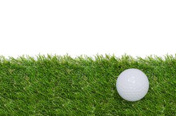 Golf ball on green grass background.