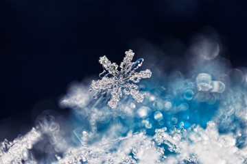 Real snowflake macro - ultra shallow depth of field