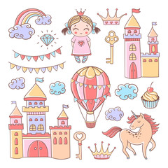 Fairytale set with castles, hot air balloon and unicorn