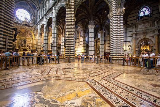 Interior of Siena Cathedral in Tuscany, Italy