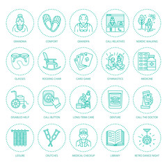 Modern vector line icon of senior and elderly care. Nursing home elements - old people, wheelchair, leisure, hospital call button, activity, doctor. Linear pictogram for sites, brochure, clinic