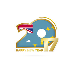 Year 2017 with Tuvalu Flag pattern. Happy New Year Design.