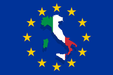 Italy map and flag on Euro Union Background