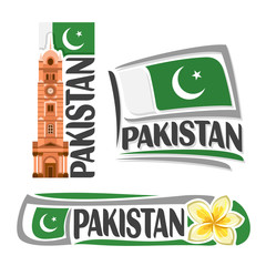 Vector logo Pakistan, 3 isolated images: vertical banner faisalabad clock tower on pakistani national state flag, architecture symbol pakistan, jasmine flower or frangipani, crescent on ensign flags.